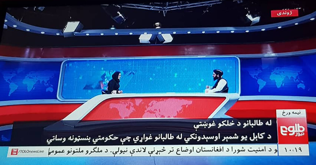 A Taliban official's TV interview with a female presenter is part of a broader campaign.