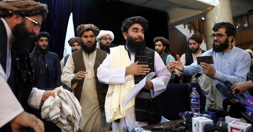 Taliban spokesman, in first news conference in Kabul, pledges no reprisals.